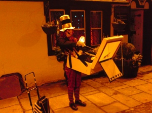 """Christmas Entertainment for """"Santa's Late Night Shopping Evening"""", outside the """"Coach House"""", High Bentham"""