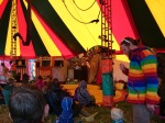 "No Strings Puppet Theatre perform their ""Down to Earth"" show in the Panic Circus tent."