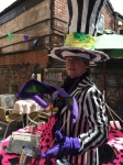 RMT's Tim Austin stars as the Mad Hatter.  Pictured in front of the Chapel Gallery, Ormskirk