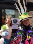 "Rough Magic Theatre's Mad Hatter, Alice and the March Hare have a mad tea party and help promote Chapel Gallery's monthly ""Makers Markets"" in Ormskirk."
